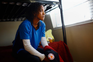 Adhanet Kidane, 30, a single mother in Tampa, Fla., earns minimum wage at two fast-food restaurants. Credit Edward Linsmier for The New York Times